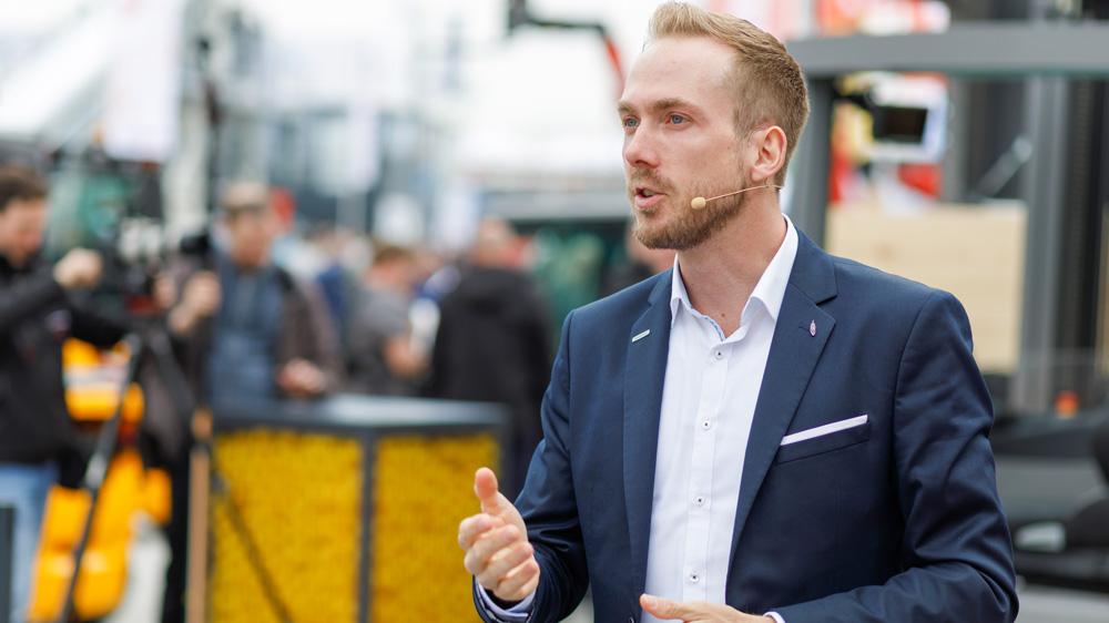 Messe-Moderator für Jungheinrich bei der BAUMA in München